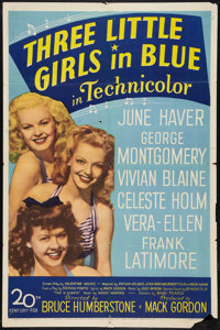 "Three Little Girls in Blue (20th Century Fox, 1946). One Sheet (27"" X 41""). Musical"
