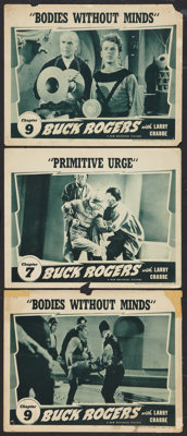 """Buck Rogers (Universal, 1939). Lobby Cards (3) (11"""" X 14""""). Chapter 7 -- """"Primitive Urge,"""" and Chapt..."""