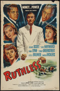 "Ruthless (Eagle Lion, 1948). One Sheet (27"" X 41""). Film Noir"