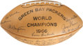 Football Collectibles:Balls, 1966 Green Bay Packers Team Signed Super Bowl I Season Football - Highest Quality Example in Existence!...