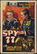 "Movie Posters:War, Spy 77 (First Division Pictures, 1936). One Sheet (27"" X 41"").War.. ..."