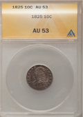Bust Dimes: , 1825 10C AU53 ANACS. NGC Census: (3/67). PCGS Population (4/49).Mintage: 410,000. Numismedia Wsl. Price for problem free N...