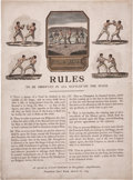 Boxing Collectibles:Memorabilia, 1743 Broughton's Rules of Boxing Broadside, One of Three Known....