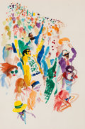Mainstream Illustration, LEROY NEIMAN (American, b. 1926). Man at His Leisure: Super Bowl#3, Playboy illustration, January 1973. Watercolor ...