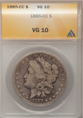 Morgan Dollars: , 1885-CC $1 VG10 ANACS. NGC Census: (1/7841). PCGS Population (2/17086). Mintage: 228,000. Numismedia Wsl. Price for problem...