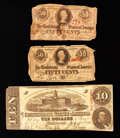 Confederate Notes:1863 Issues, T59 $10 1863. T63 50 Cents 1863 Two Examples.. ... (Total: 3 notes)