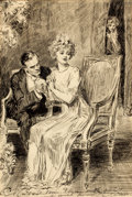 Mainstream Illustration, CHARLES DANA GIBSON (American, 1867-1944). The Proposal. Penand ink on paper. 22 x 15 in.. Signed lower left. ...