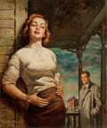 Mainstream Illustration, RAFAEL DE SOTO (American, 1904-1987). Elinda (The Satellite),paperback cover, 1951. Oil on board. 19 x 15.75 in.. Signe...