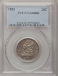 Bust Quarters, 1835 25C PCGS Genuine. The PCGS number ending in .92 suggests Cleaning as the reason, or perhaps one of the reasons, that P...