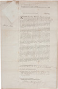 "Autographs:Statesmen, Samuel Adams Partly Printed Document Signed as Governor ofMassachusetts. One page, 11"" x 17"", ""Commonwealth ofMassachuse..."