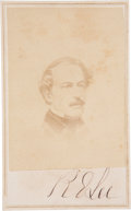 "Autographs:Military Figures, Robert E. Lee Carte de Visite Signed ""R. E. Lee"", 2.5"" x 4"". Printed on verso, ""Stonewall, Art Gallery. Bo..."