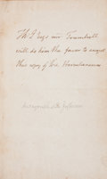 """Autographs:U.S. Presidents, Thomas Jefferson Autograph Note Signed in the third person. One page, 4.75"""" x 7.5"""", n.p., n.d.... (Total: 6 Items)"""