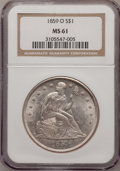 Seated Dollars: , 1859-O $1 MS61 NGC. NGC Census: (70/148). PCGS Population(107/183). Mintage: 360,000. Numismedia Wsl. Price for problemfr...