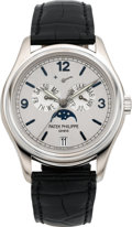 Timepieces:Wristwatch, Patek Philippe Ref. 5250G Limited Edition White Gold Annual Calendar With Moon Phases, Advanced Research Silicon Escape Wheel,...