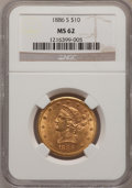 Liberty Eagles: , 1886-S $10 MS62 NGC. NGC Census: (979/231). PCGS Population(622/222). Mintage: 826,000. Numismedia Wsl. Price for problem ...