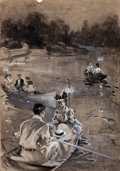 Mainstream Illustration, EDMUND M. ASHE (American, 1867-1941). Paddling in theMoonlight. Watercolor and gouache on board. 19.5 x 13.5 in..Signe...