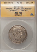 Coins of Hawaii: , 1883 50C Hawaii Half Dollar--Cleaned, Damaged, MountRemoved--ANACS. AU50 Details. NGC Census: (21/253). PCGS Population(4...