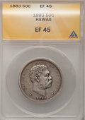 Coins of Hawaii: , 1883 50C Hawaii Half Dollar XF45 ANACS. NGC Census: (33/274). PCGSPopulation (56/384). Mintage: 700,000. (#10991)...