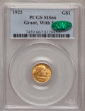 Commemorative Gold: , 1922 G$1 Grant With Star MS66 PCGS. CAC. PCGS Population (574/225).NGC Census: (297/95). Mintage: 5,016. Numismedia Wsl. P...