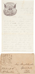 Military & Patriotic:Civil War, Confederate Soldier's Letter on CSA Letterhead with large vignette featuring Jefferson Davis. Two pages including integral b...