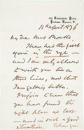 "Autographs:Authors, William Wilkie Collins Autograph Letter Signed. Two pages, pennedon recto and verso of first page only, 4.5"" x 7"", on his p..."