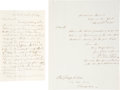 Autographs:Statesmen, John Clarkson Jay Letter Signed and William Jay Autograph LetterSigned. Two manuscripts from the famous and influential Jay...(Total: 2 Items)