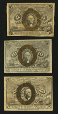 Fractional Currency:Second Issue, Second Issue Fractionals Fine or Better.. ... (Total: 3 notes)