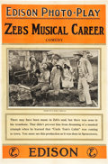 "Movie Posters:Comedy, Zeb's Musical Career (Thomas A. Edison, Inc., 1913). One Sheet (27""X 41""). Comedy.. ..."