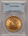 Liberty Double Eagles: , 1898-S $20 MS63 PCGS. PCGS Population (2890/1274). NGC Census:(3484/1106). Mintage: 2,575,175. Numismedia Wsl. Price for p...