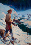 Mainstream Illustration, FRANK STICK (American, 1884-1966). Winter Calamity. Oil oncanvas. 38 x 26 in.. Signed lower right. ...