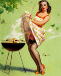 Pin-up and Glamour Art, GIL ELVGREN (American, 1914-1980). Smoke Screen, 1958. Oilon canvas. 30 x 24. in.. Signed lower right. ...