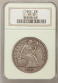 Seated Dollars: , 1845 $1 VF25 NGC. NGC Census: (2/122). PCGS Population (2/190).Mintage: 24,500. Numismedia Wsl. Price for problem free NGC...