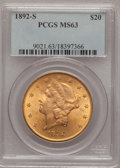 Liberty Double Eagles: , 1892-S $20 MS63 NGC. NGC Census: (332/52). PCGS Population(523/74). Mintage: 930,150. Numismedia Wsl. Price for problem fr...