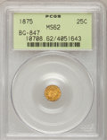 California Fractional Gold: , 1875 25C Indian Round 25 Cents, BG-847, R.4, MS62 PCGS. PCGSPopulation (16/48). NGC Census: (3/5). (#10708)...