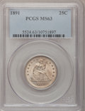Seated Quarters: , 1891 25C MS63 PCGS. PCGS Population (126/223). NGC Census:(105/246). Mintage: 3,920,600. Numismedia Wsl. Price for problem...