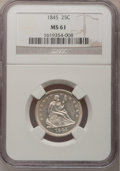Seated Quarters: , 1845 25C MS61 NGC. NGC Census: (6/44). PCGS Population (2/37).Mintage: 922,000. Numismedia Wsl. Price for problem free NGC...