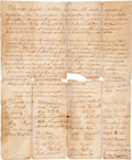 """Miscellaneous:Ephemera, 18th Century Quaker Marriage Certificate for the Union of JosephTalbott and Mary Farquhar. One page, 11.25"""" x 12.75"""", Pipe ..."""