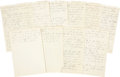 Autographs:Statesmen, [John F. Kennedy]. Robert F. Kennedy's Personal Notes from Adlai Stevenson's 1956 Presidential Campaign. Eighteen pages (ten... (Total: 10 Items)