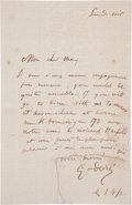 "Autographs:Artists, French Artist Gustave Doré Autograph Letter Signed in French and English. One page, 7.75"" x 4.25"", n.d., addressed to ""..."