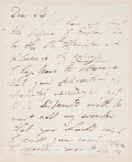 """Autographs:Authors, Lord George Gordon Byron Autograph Letter Signed. One page withaddress leaf on verso, 4"""" x 5"""", n.p., n.d. Addressed to John..."""