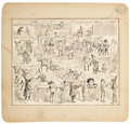 Works on Paper, PALMER COX (Canadian, 1840-1924). Brownies book illustration. Ink on paper laid on board. 5.75 x 7 in.. Signed lower lef...
