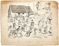 Mainstream Illustration, PALMER COX (Canadian, 1840-1924). Cutting Turf from The BrowniesAbroad. Ink on paper laid on board. 6.75 x 8 in.. S...