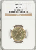Proof Barber Quarters, 1904 25C PR64 NGC....