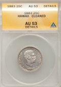 Coins of Hawaii: , 1883 25C Hawaii Quarter--Cleaned--ANACS. AU53 Details. NGC Census:(12/848). PCGS Population (41/1254). Mintage: 500,000. ...