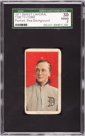 Baseball Cards:Singles (Pre-1930), 1909-11 T206 Sweet Caporal Ty Cobb, Red Portrait SGC 30 Good 2 -Rare Factory 42 Overprint....