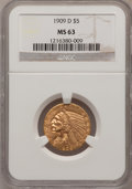 Indian Half Eagles: , 1909-D $5 MS63 NGC. NGC Census: (7315/2264). PCGS Population(8778/2369). Mintage: 3,423,560. Numismedia Wsl. Price for pro...