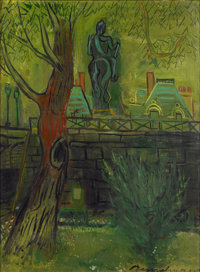 LUDWIG BEMELMANS (American, 1898-1962) Le Vert Galant, August 1957 Oil on canvas 32 x 23.5 in