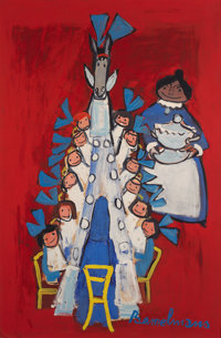LUDWIG BEMELMANS (American, 1898-1962) Madeline and Horse at Dinner Table Gouache on illustration bo