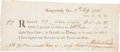 """Miscellaneous:Ephemera, Fourth of July, 1776 Revolutionary War Receipt for One Ton of Iron.One page, 7.5"""" x 3.25"""", Ringwood, """"4th July 1776"""". ..."""