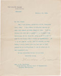 Autographs:U.S. Presidents, Theodore Roosevelt Typed Letter Signed as President. One page withintegral blank, on White House letterhead, approximately ...